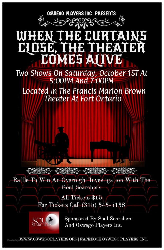 2 Shows on Oct 1, 5 & 7 pm. Call (315)343-5138 for tickets